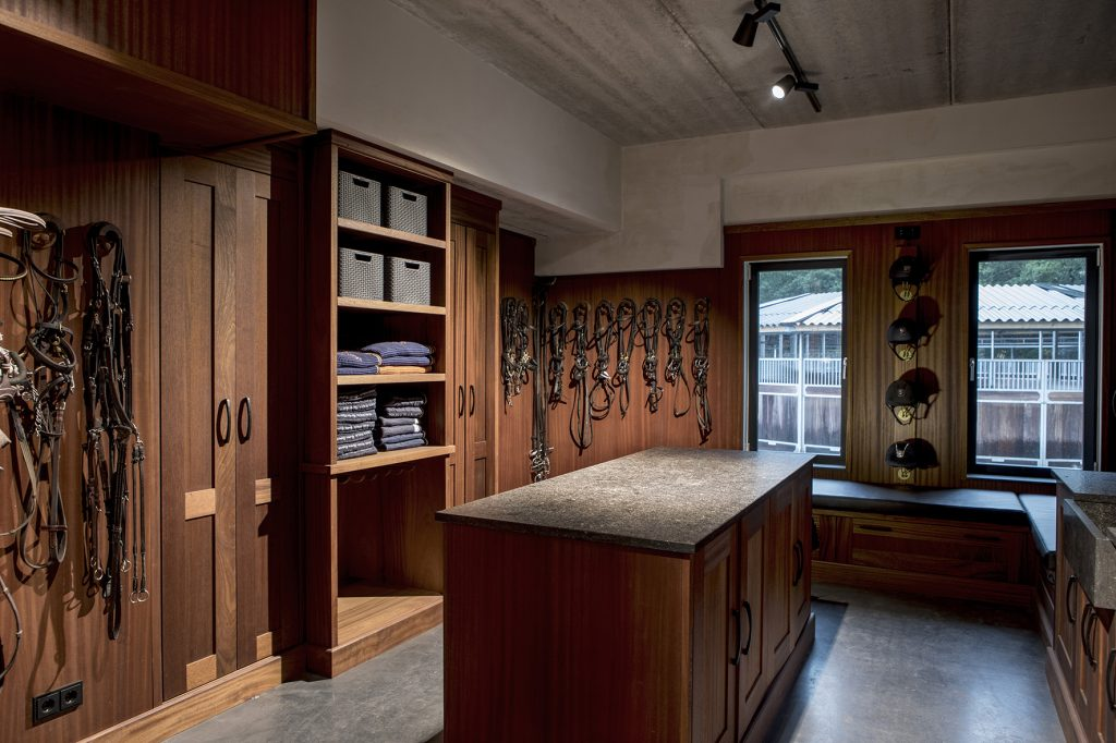 Sebo tack room with natural stone work island