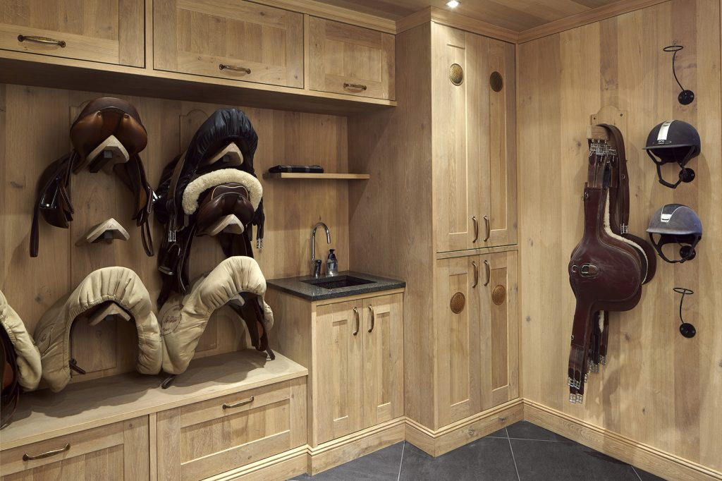 tack room oak with recessed spotlights