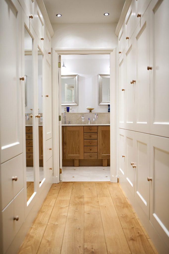 walk-through wardrobe with mirror wall