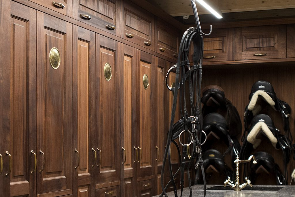 tack room with plenty of storage space and ventilation