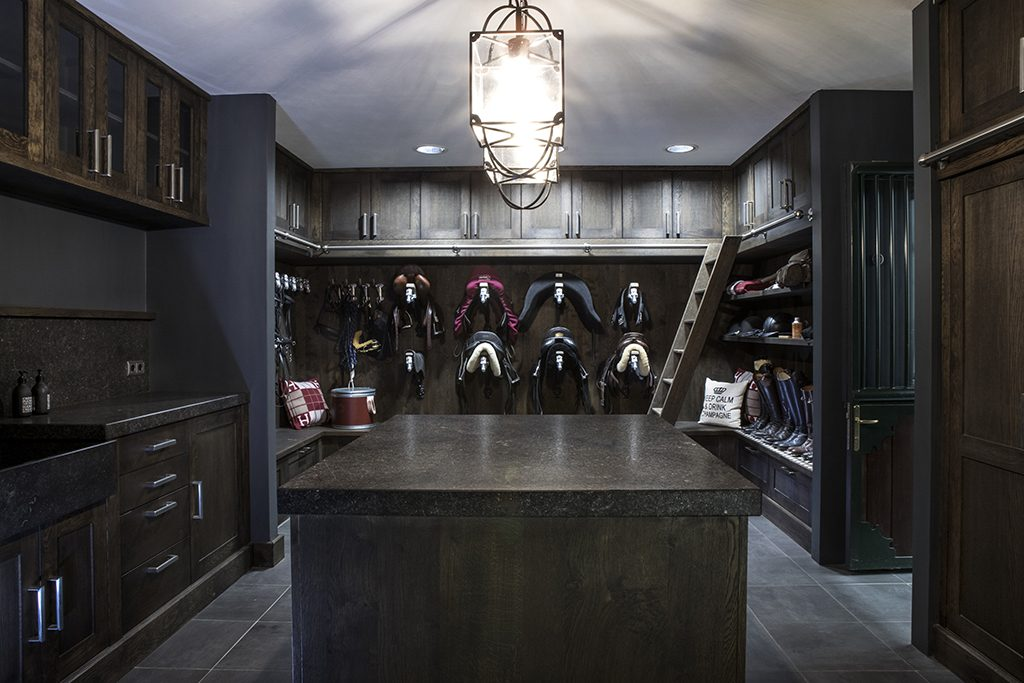 Luxury tack room with plenty of storage space