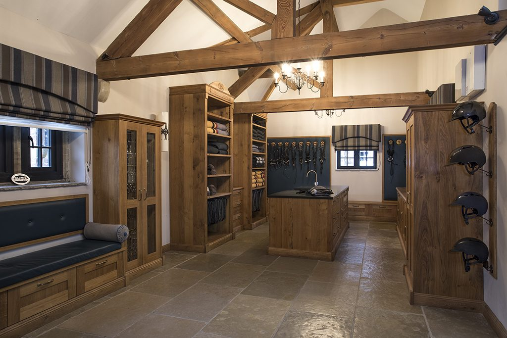 tack room natural oak with black leather components